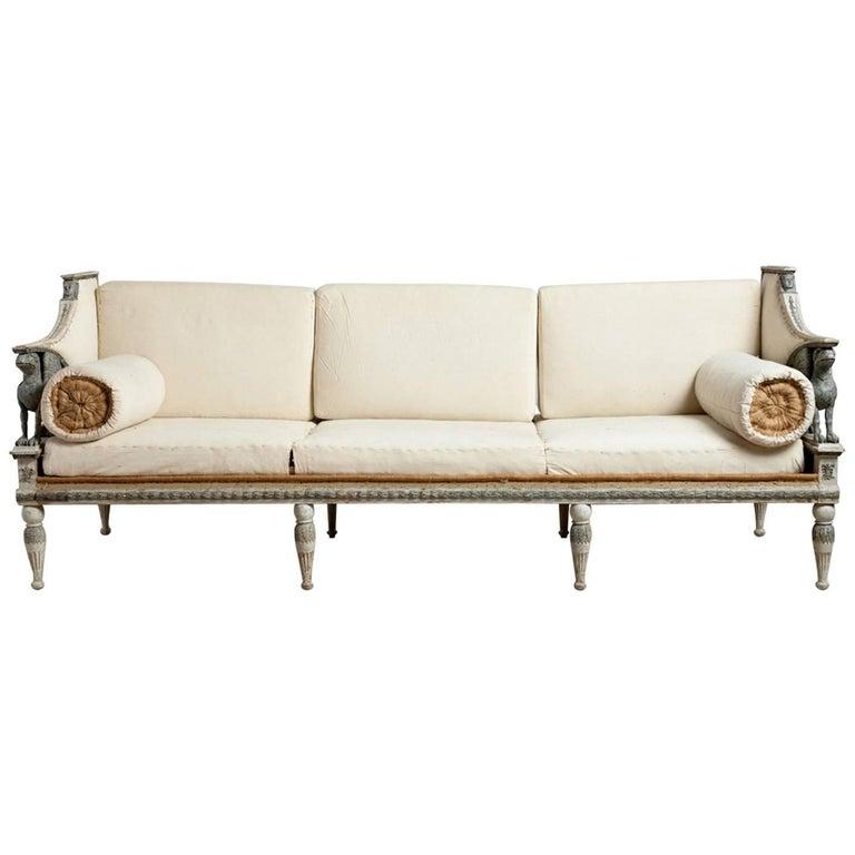 Ephraim Ståhl late Gustavian Griffin sofa, ca. 1795, offered by Dienst + Dotter Antikviteter