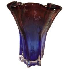Blue and Amber Murano Art Glass Vase