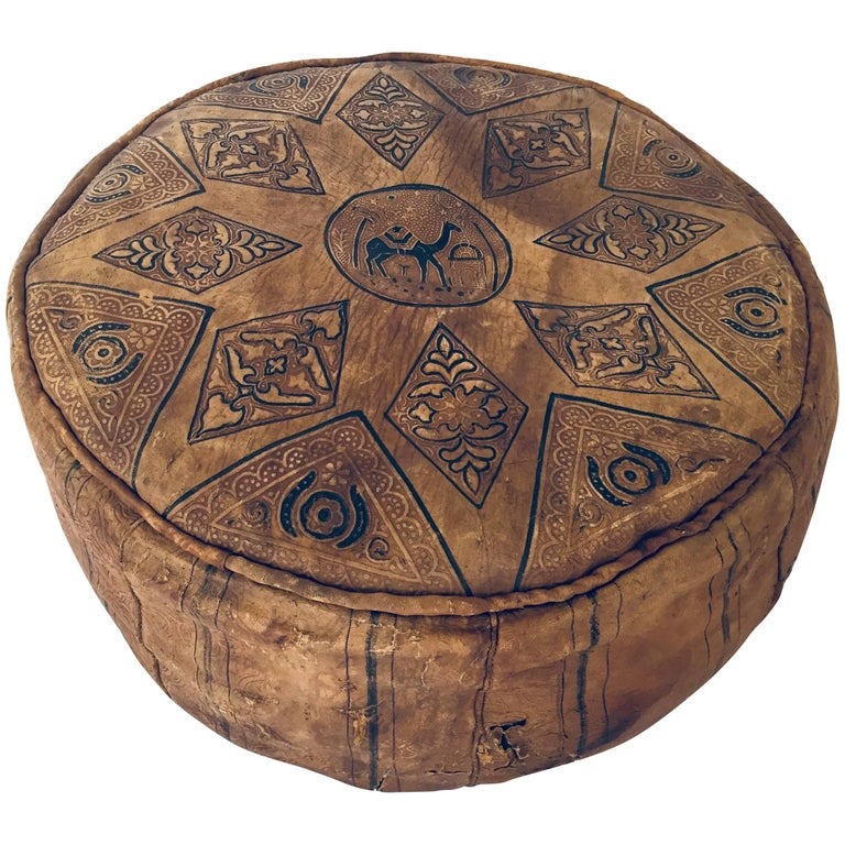 Moroccan Round Pouf Hand-Tooled and Embossed in Fez Morocco