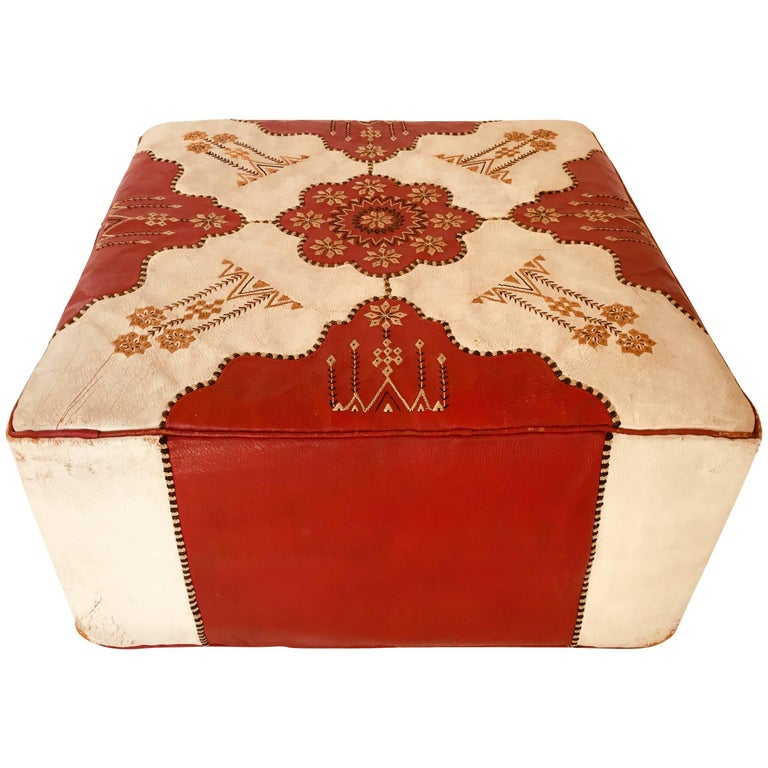 Large Vintage Moroccan Red and White Leather Rectangular Ottoman