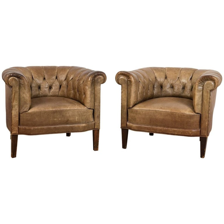 20th Century Swedish Leather Armchairs