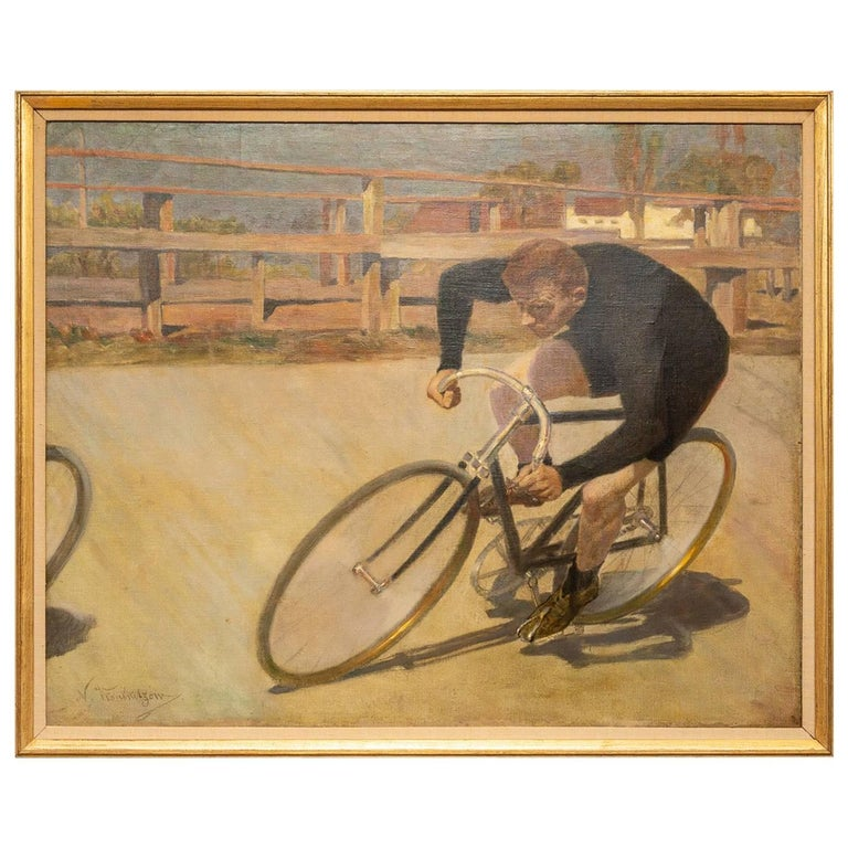 Framed Oil Painting on Canvas, Bicycle Racer