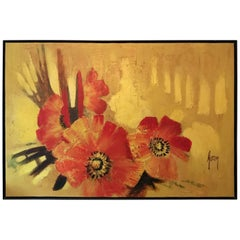 Large Scale Framed Mid-Century Modern Poppy Cluster Painting