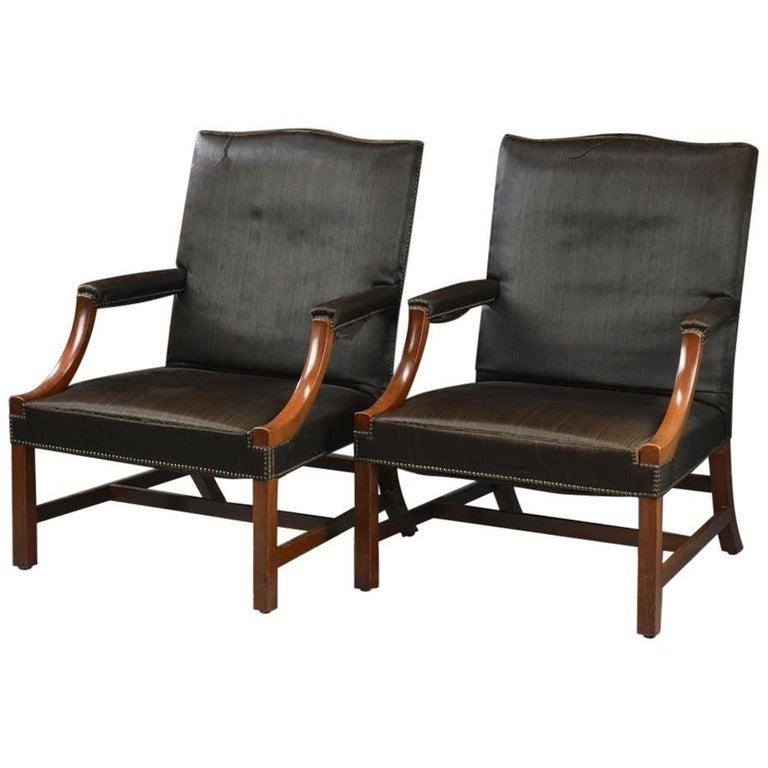 Pair of George III Style Armchairs Upholstered in Horsehair