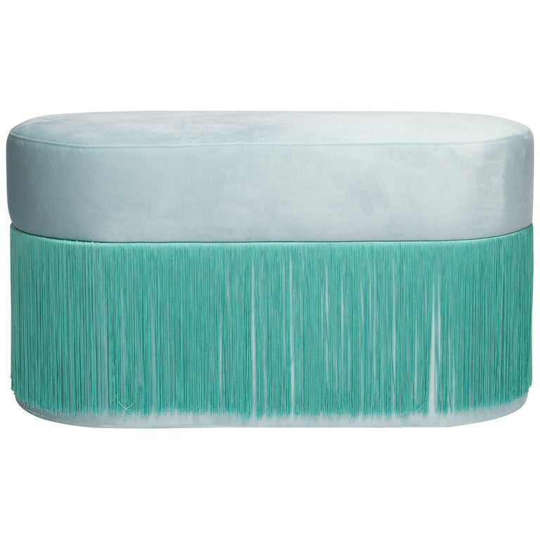 Pouf Pill Large Turquoise in Velvet Upholstery with Fringes