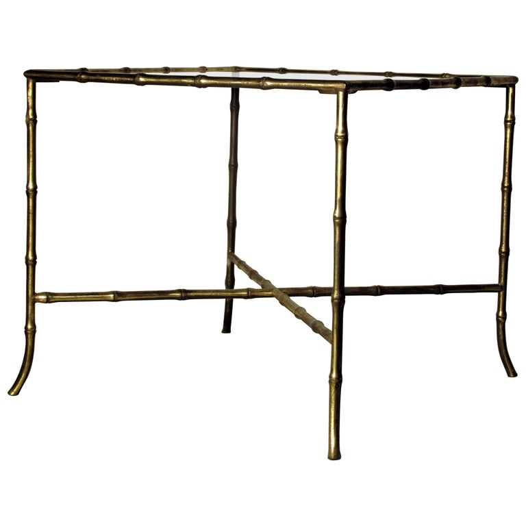 Faux Bamboo Gilt Brass Table in the style of Maison Baguès