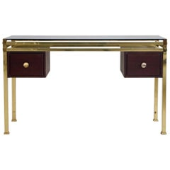 Dressing Table or Console with Tinted Glass Top and Brass Frame