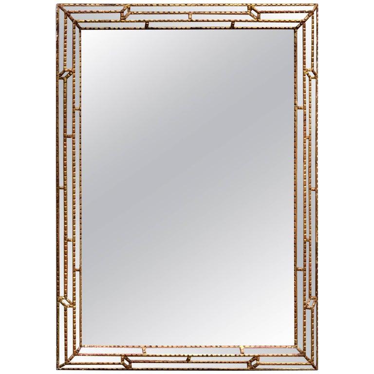 Large Rectangular Italian Carved Giltwood Mirror