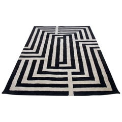 Contemporary Black and White Rug with Geometric Pattern