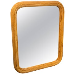1970s Split Bamboo Mirror