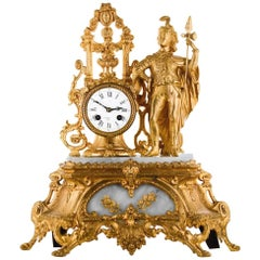 French Mantel Clock, Gilt and Alabaster, Signed Prevost Paris, circa 1850
