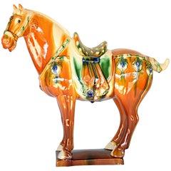 Large Chinese Pottery Horse, Glazed Terracotta San Cai