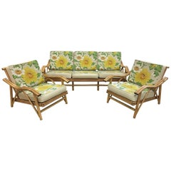 Vintage Mid-Century Modern Matching Bamboo Sofa and Two Chairs
