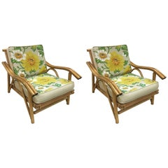 Vintage Mid-Century Modern Pair of Bamboo Rattan Lounge Armchairs