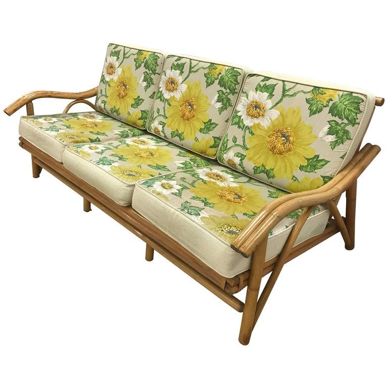 Vintage Mid-Century Modern Real Bamboo Rattan Sofa