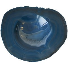 Blue and White Agate Onyx Vessel Bowl or Decorative Object