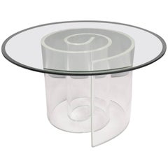 1970s Vladimir Kagan Style Large Lucite and Glass Snail Coffee Table