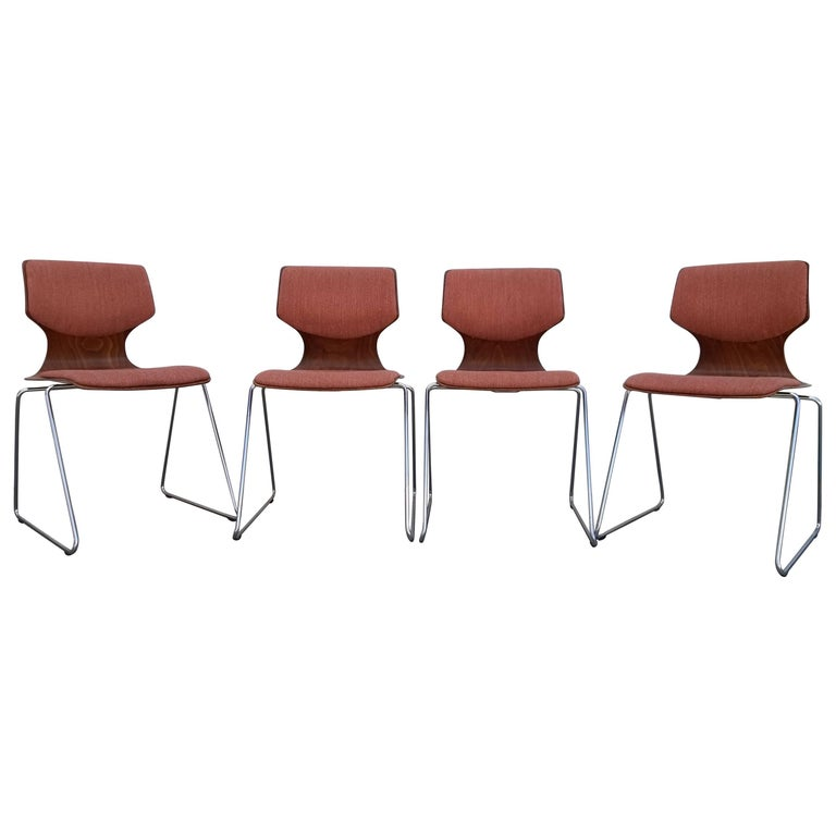 Adam Stegner Plywood and Chrome Stacking Dining Chairs