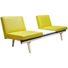 George Nelson White & Chartreuse Naugahyde Steel Fame Sofa & Table Mad Men Green