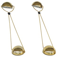 Pair of Italian 1980s Gold-Plated Halogen Table Lamps by Stefano Cevoli