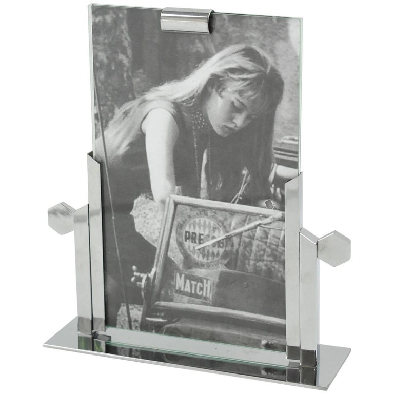 1930s Art Deco Architectural Chrome Picture Photo Frame