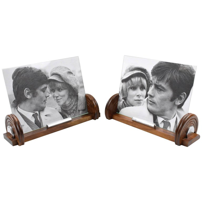 French Art Deco Walnut and Chrome Picture Photo Frame, a Pair