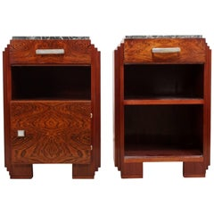 Art Deco Bedside Cabinets with Marble Tops, circa 1920
