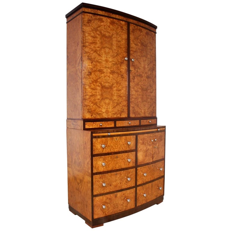Art Deco Cabinet with Bookcase and Drawers in Burr Maple