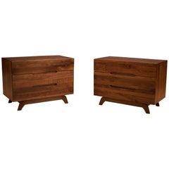Vintage Pair of Solid Walnut Dresser Chests