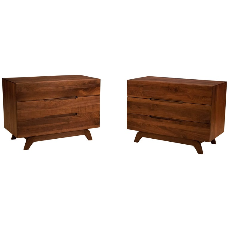 Vintage Pair of Solid Walnut Dresser Chests