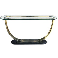 Art Deco Style Glass and Brass Console Table