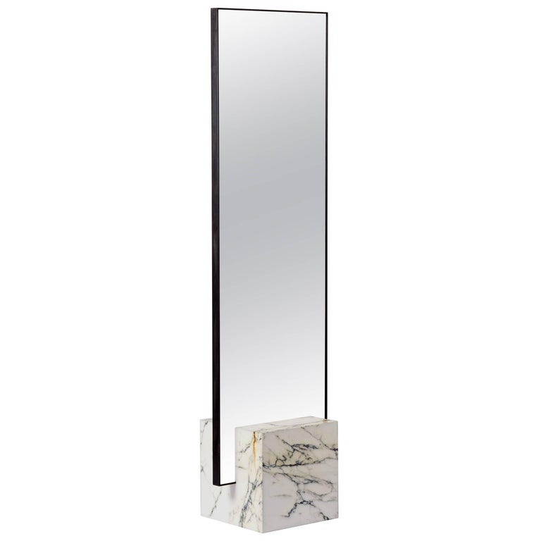Coexist Slash Standing Mirror with Marble, Concrete Rubber and Black ...