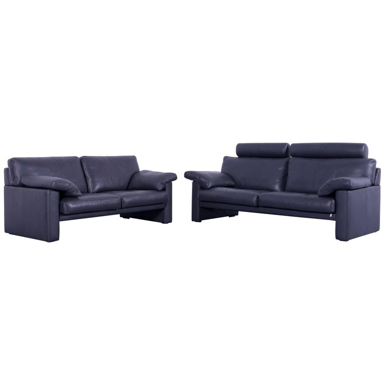 Erpo Cl 300 Sofa Set Of Two Leather Grey Three Seat Couch For