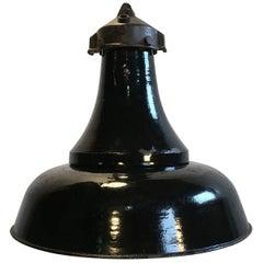 Vintage Industrial Black Enamel Pedant Lamp, Bauhaus, 1920s