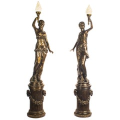 Monumental Pair of Patinated Bronze Romanesque Torchere Lamps 20th Century