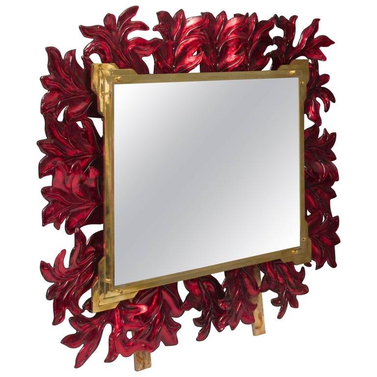 Murano 1970 Red Glass and Brass Midcentury Mirror