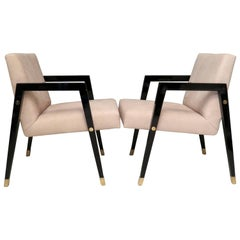 Pair of 1950 Black Wood and Brass Italian Midcentury Armchairs
