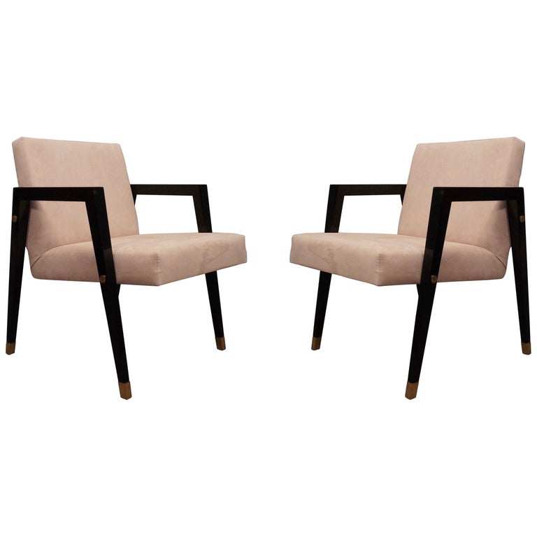 Pair of Midcentury Wood Fabric and Brass Italian Armchairs, 1950 For Sale
