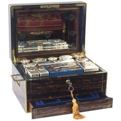 Antique English Coromandel and Silver Dressing Case by Leuchars, 19th Century