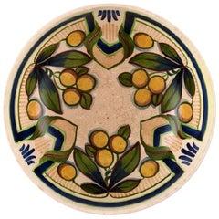 Aluminia Faience Bowl, Hand-Painted with Fruits, Denmark, Early 1900s