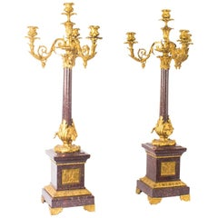 Pair of Monumental Louis Revival Ormolu and Porphyry Candelabra 19th Century
