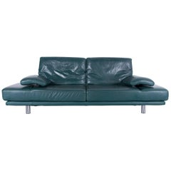 Rolf Benz 2400 Designer Sofa Green Two-Seat Leather Modern Couch Metal Feet