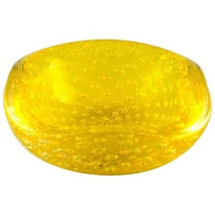 Murano Art Glass Bowl in Yellow, Italy, 1960s-1970s
