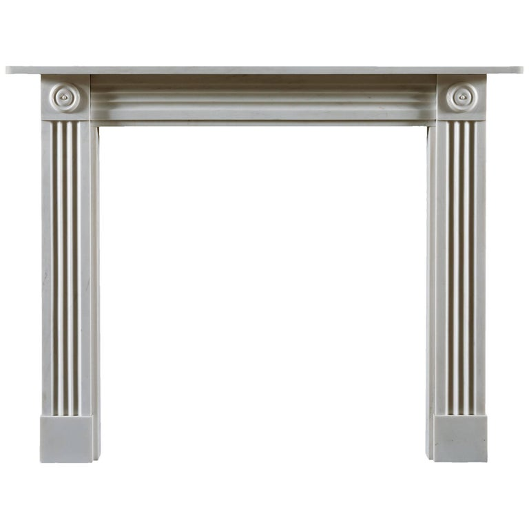 Jamb Regency Style Brunswick Fireplace in White Statuary Marble