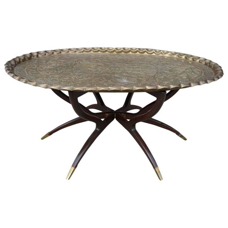 Large vintage brass tray coffee table on midcentury folding base for sale at 1stdibs Folding coffee table