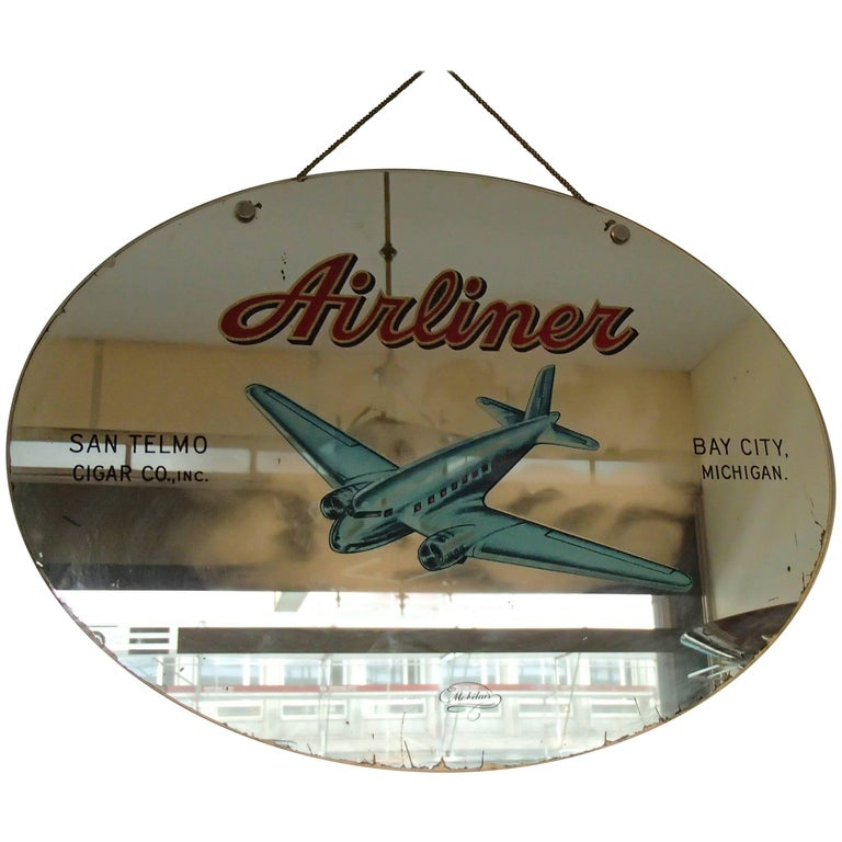 "Midcentury Advertising Mirror ""Airliner"" San Telmo Cigar Co Bay City Michigan"