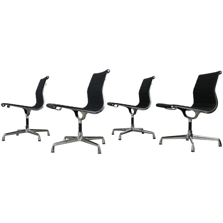 Four Vintage Swivel Charles and Ray Eames Chairs by Vitra Herman Miller Black