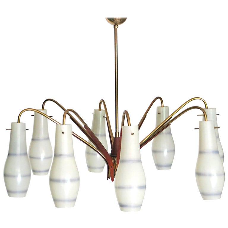 Italian Midcentury Design Glass Funnels and Teak Chandelier in Stilnovo Style