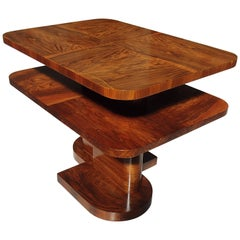 Art Deco Table or Low Console Rose Wood and Walnut Square Double Top