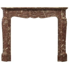 Antique Parisian Red Marble Fireplace Mantel